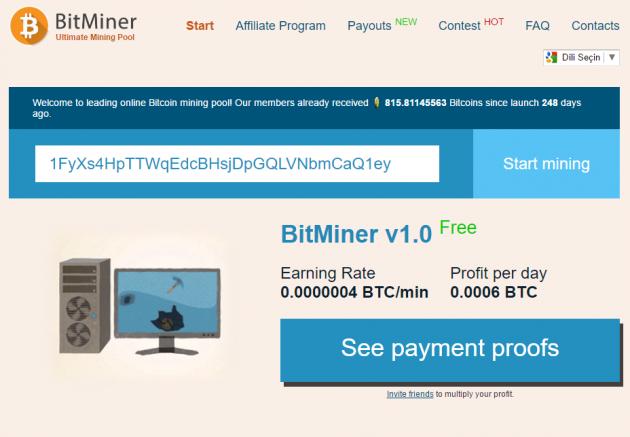 bitminer ile bitcoin biriktir