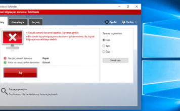 Windows Defender Windows 10 kapatma
