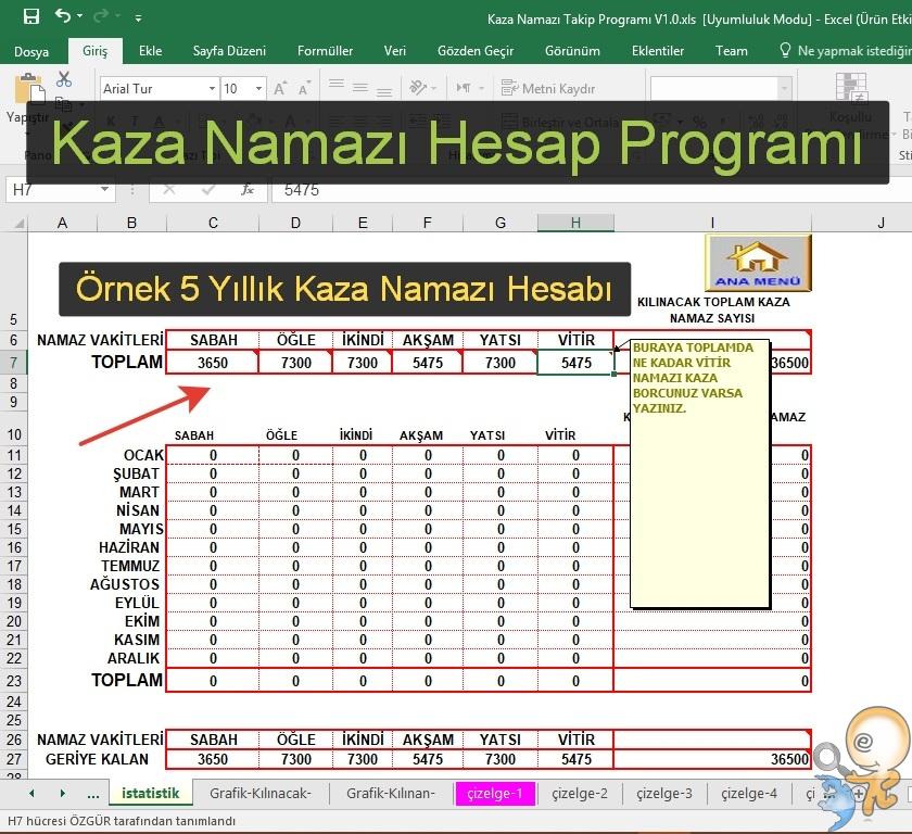 Photo of Kaza Namazı Takip Programı (Excel)